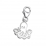 Octopus Shaped Charm with Clip On Clasp - 925 Sterling Silver - Size