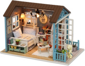 Hayatec Wooden DIY Dolls Houses Handmade DIY House with Lights and Accessories- Model Kits Furniture Renovation, Woodcraft Construction Kit Toys for Kids, Mini Diorama Big House for Boys and Girls to Play-Miniature Creative Gift
