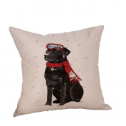 YanHoo Christmas Dog Linen Cushion Cover Throw Pillow Case Sofa Bed Home Decor