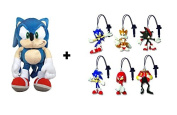 "Sonic The Hedgehog Backpack/plush toy blue 17""/45cm + 3uds keychains PVC SONIC random"