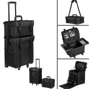 Voilamart Makeup Travel Case, Pro 2 in 1 Rolling Makeup Case Beauty Trolley Make Up Organiser on Wheels