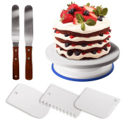 GiBot Cake Turntable Cake Decorating Turntable 360 Degree Rotating Cake Stand Cake Plate with 3 Cream Scraper and 2 Angled Icing Spatulas for Cake Decorating, Pastries and Cupcakes, 28*7 cm, White