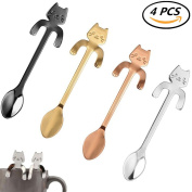 CosCosX 4 Pcs Stainless Steel Coffee Spoon Mini Cat Kitty, Tea Soup Sugar Dessert Appetiser Seasoning Bistro Spoon, Hanging Cup Spoon Kitchen Gadget ROSEGOLD SILVER GOLDEN BLACK