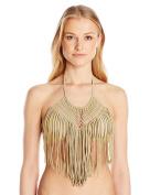 Luli Fama womens Heart of a Hippie Weave Fringed Halter Bikini Top Bikini Top - gold -
