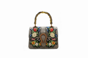 Geometric Pattern Fashion Embroidery Embroidery Clamshell Bag Messenger Bag , grey