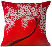 ChezMax Oil Painting Home Decorative Cotton Linen Throw Pillow Cover Cushion Case Square Pillowslip For Home Decor White Flowers in Red 46cm X 46cm