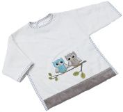 Be Be's Collection 522 Bib with Sleeves 74 Owl Motif Taupe