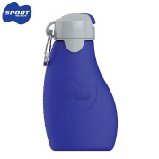 Sili Squeeze Sport 237ml (Flip Spout) – Blue – Quetschb Silicone Reusable Sports Quetschie Bags to Fill Yourself, Ideal for Sport and Outdoor with practical carabiner hooks for Festmachen