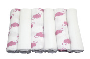 MuslinZ 6pk 70cms Bamboo/Organic Cotton Muslin Squares WHITE/PINK LAVENDER Cloud Print
