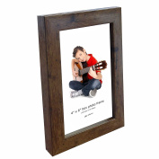 Photo Frame, 6 x 4, Standard Photograph Size, Brown, Freestanding and Wall Mountable, 6x4 Picture Frame
