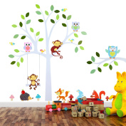 TALINU Wall Stickers Tree with Leaves and Animals | 2 Year Satisfaction Guarantee | wall sticker, wall decals, wall stickers for bedrooms, wall decoration nursery - for smooth, clean and dry surfaces