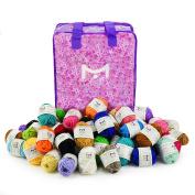 Mira Handcrafts 60 Knitting Yarn Bonbons - Bulk Yarn for Crochet - 100% Acrylic Yarn Skeins Assorted Colours - Stylish Yarn Storage Bag Included