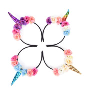 CosCosX 4 Pcs Girls Unicorn Horn Headband with Flowers for Kids Adults Rainbow Birthday Party Favours Dress Cosplay, GOLD and SILVER