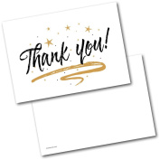 *NEW* Pack of 20 Thank You Cards Thankyou Black & Gold Design Postcards with Envelopes