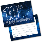 *NEW* Pack of 20 18th Birthday Party Invitations Male Invites with Envelopes