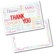 *NEW* Pack of 20 Thank You Thankyou Adult Languages Postcards Cards with Envelopes