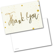 *NEW* Pack of 20 Thank You Cards Thankyou Gold & Cream Postcards Cards with Envelopes