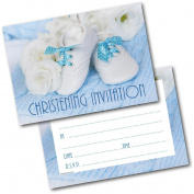 *NEW* Pack of 20 Christening Invites Baby Shoes Boy Invitations with Envelopes
