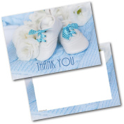 *NEW* Pack of 20 Thank You Baby Gift Baby Shoes Boy Postcards Cards with Envelopes