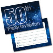 *NEW* Pack of 20 50th Birthday Party Invitations Male Invites with Envelopes