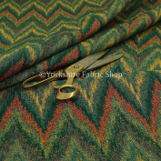 Full Chevron Striped Chenille Green Red Yellow Upholstery Furniture Fabric