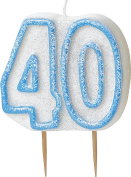 WOW GLITTER BLUE 40th Birthday Candle