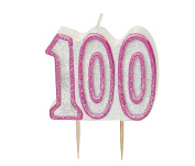 WOW GLITTER PINK 100th Birthday Candle