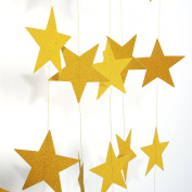 Takefuns Gold Star Garland-Takefuns Silvery Christmas galaxy banner,Twinkle Little Star String garland Christmas garland for Christmas Decor, Wedding Birthday Party Baby Shower Decorations