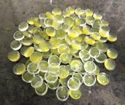 100 CREAM GLITTER Round Glass Pebbles/Stones/Gems/Nuggets /Beads 17 - 20mm