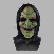 MASCARELLO®Adult Halloween Green Scary Clown Mask Soft Foam Black Hooded Mask