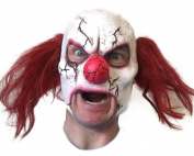 Scary Cracked Clown Mask , Open Mouth , Latex , Red Hair , Zombie Halloween Horror Masks