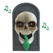 LED Halloween Gothic Skull Serpent Snake Doorbell Haunted House Party Decoration with Sound + Attacks your Hand
