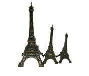 Pack of 3 Vintage Eiffel Tower Architectural Bronze 3D Craft Art Statue Model Replica of Famous Paris Landmark Ornament for Cake Decor Desk Decor