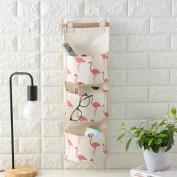 Chinget Linen Cotton Hanging Storage Bag Flamingo Pattern Wall Door 3 Pockets Storage Organiser