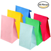 Keriber 30 Pieces Party Bags Gift Paper Bags Grocery Bags Craft Paper Bags Lunch Flat Bottom Paper Bags,6 Colours