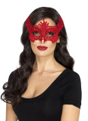 Smiffy's 48163 Lace Filigree Devil Mask, Red, One Size