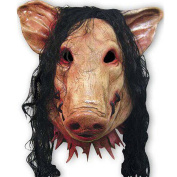 Aulley Animal Scary Masks Pig Head with Black Hair Latex Masks for Full Head