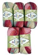 5 x 50 g Cotton Pink Gradient Grey Beige No. 5512, 250 g Knitting Wool Yarn 100% Cotton
