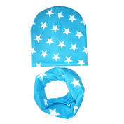 Gemini_mall® Fashion Unisex Baby Girls Child Boys Star Pattern Hats Scarf Two-piece Set