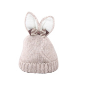 Gemini_mall® Cute Rabbit Ear Winter Kids Baby Hats Knitted Hemming Skullies Beanies Hat