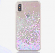 iPhone X Case [With Free Tempered Glass Screen Protector],Mo-Beauty® Flowing Liquid Floating Flowing Bling Shiny Sparkle Glitter Crystal Clear Plastic Hard Case Protective Shell Case Cover For Apple iPhone X/iPhone 10 (2017 Release)