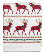 Dena Reindeer Plaid Printed Bath Towel