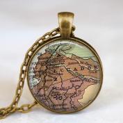 Ecuador map necklace, Ecuador South America map pendant ,