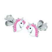 Sterling Silver Unicorn Earrings - Pink Glitter
