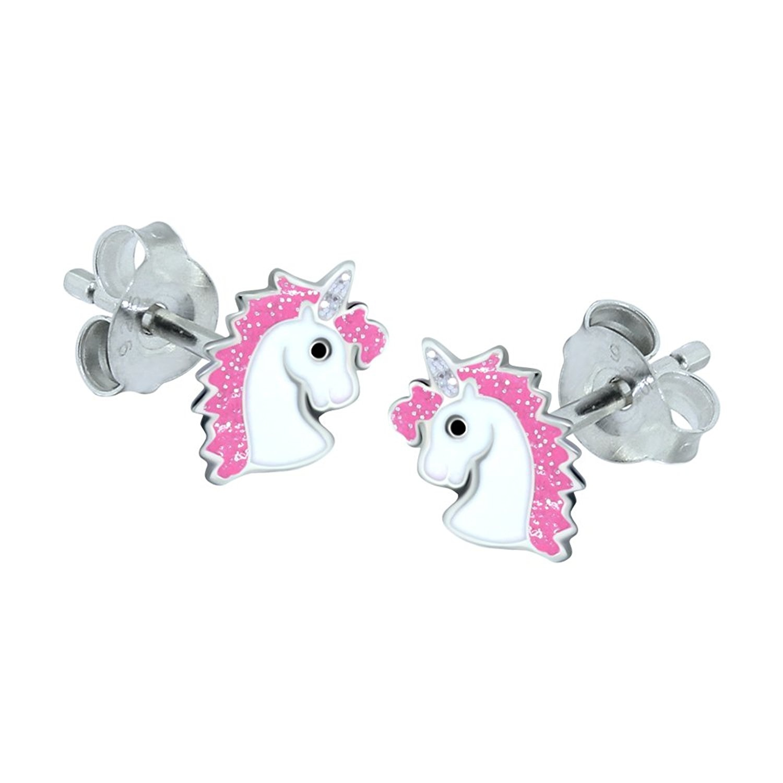 1d2f956f5 Sterling Silver Unicorn Earrings - Pink Glitter by Katy Craig - Shop Online  for Jewellery in Australia