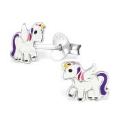Girls Purple Multi Unicorn Stud Earrings