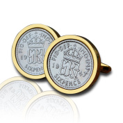 1947 Gold Sixpence Coin Cufflinks Vintage 70th Birthday Anniversary