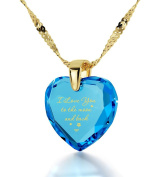 """Gold Plated Heart Necklace """"I Love You to The Moon and Back"""" Inscribed in 24ct Gold on CZ Love Pendant, 46cm Gold Filled Chain - NanoStyle Jewellery"""
