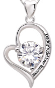 "ALOV Jewellery Sterling Silver ""Daddy's girl love forever"" Love Heart Cubic Zirconia Pendant Necklace"