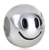 Beads R Us ® - Emoji Smiley Face Charm / Bead in Solid Sterling Silver Hallmarked 925, Compatible with well known makes of Charm Bracelets and Charm Necklaces.